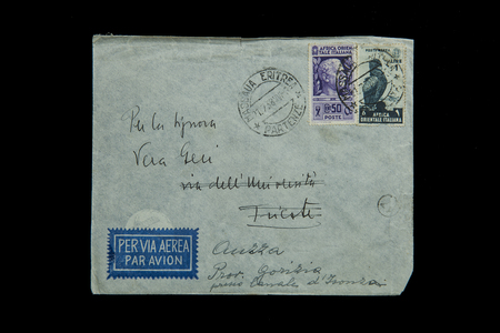 old envelope: old envelope with stamps of the Italian kingdom of Italy