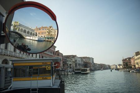 rialto: view of the Rialto Bridge reflected from the mirror Stock Photo