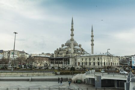 constantinople ancient: The New Mosque in Istanbul seen from the Galata Bridge Editorial