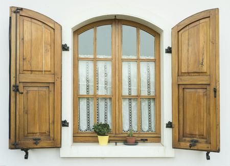 Open wooden window Stock Photo