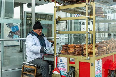 sesame street: Simit salesman in Istanbul Editorial