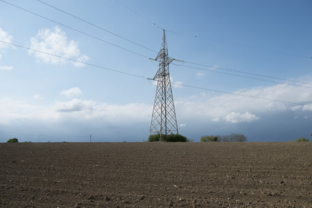 powerline: electricity pylon in the countryside