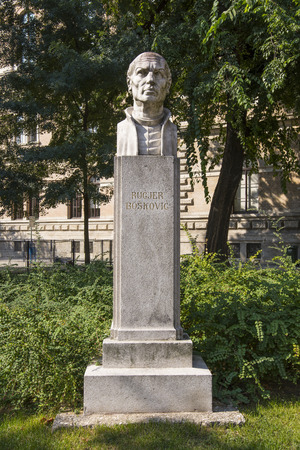 bust: the bust of Ruder Boscovich in a park in Zagreb Editorial