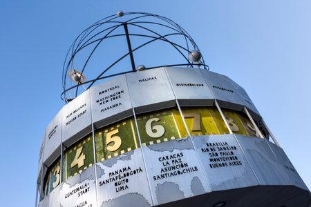 the Urania Weltzeituhr world clock in Alexanderplatz in Berlin