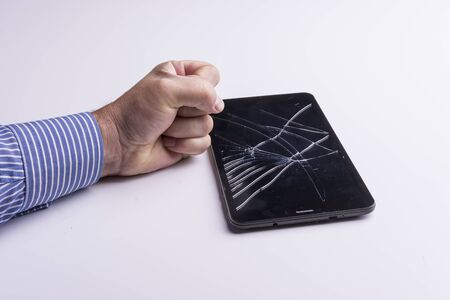 broken screen: a tablet with a broken screen
