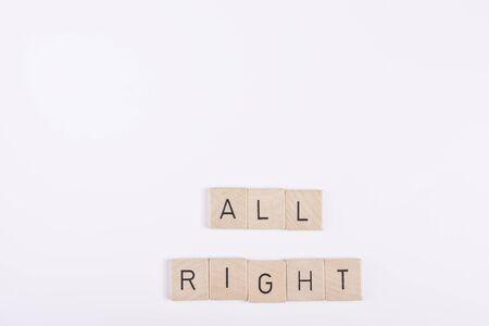 all right: All right phrase Stock Photo