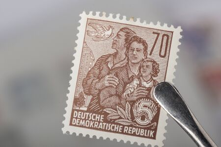 airmail stamp: An old former German Democratic republic postage stamp
