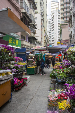 flowers market in the streets of Hong Kong Editorial