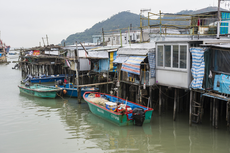 traditional houses on stilts in the village of Tai O, Hong Kong