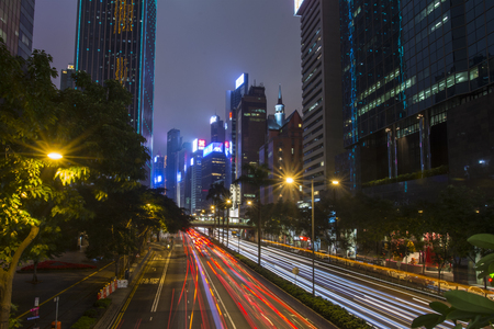 The road traffic in Hong Kong by night Redakční