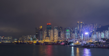 hong kong island: A nightime view of Hong Kong Island