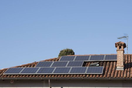 photovoltaic panels on the roof of a house Stock Photo