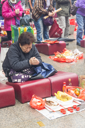 hung: faithful in Hung Shing Temple ion Hong Kong