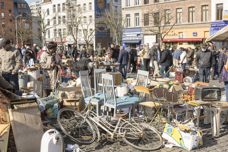 secondhand: Flea market in Brussels Editorial