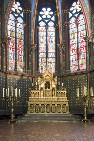 The altar in Sainte Marie-Madeleine church in Brussels Editorial