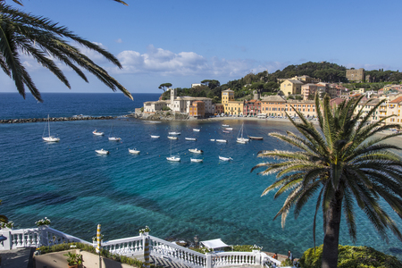 A panoramic view of Silence Bay in Sestri Levante. Stock Photo - 77649238