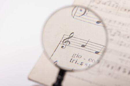 musical score: View through a magnifying glass of notes in a music score