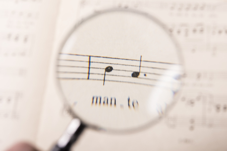 note paper: View through a magnifying glass of notes in a music score