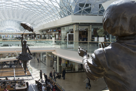 The funambulist statue at a shopping mall in Bratislava