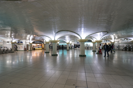The indoor view of the Saint Lazare Metro Station in Paris