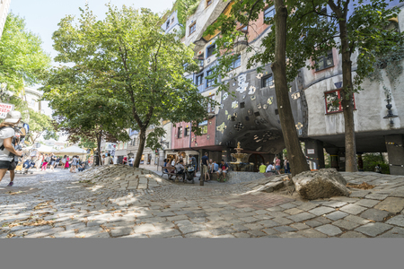 articles: The characteristic facade of Hundertwasserhaus in Vienna