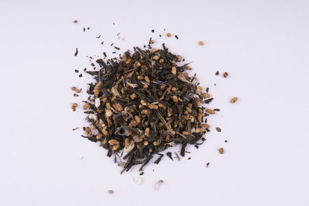 mix of dried herbs to make herbal teas on a white background Stock Photo
