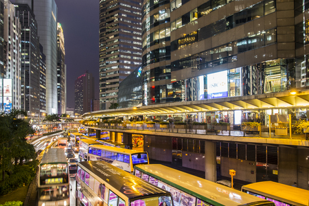 A night view of the traffic in the streets of Hong Kong Island Editorial