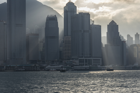 A view of the Hong Kong island from the Victoria harbor