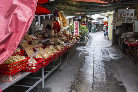 Stall for the salt of dried fish on the streets of Tai O village.
