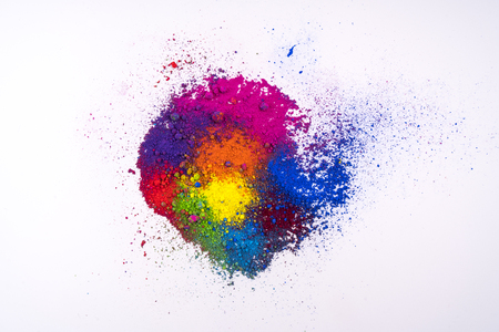 multi colored natural pigment powder Stock Photo