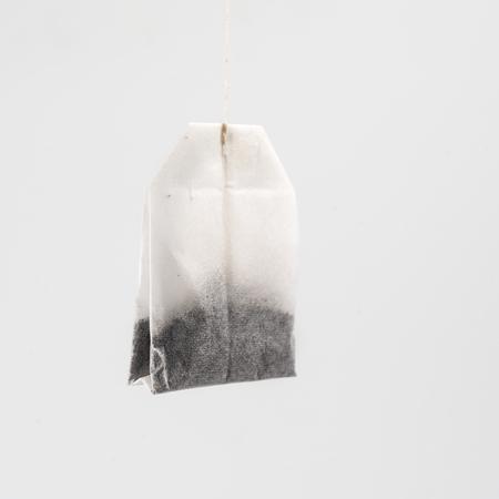 a tea bag on a white background Stock Photo