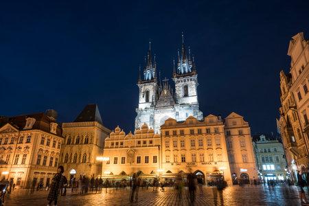 Night view of the Old Town Square in Prague, Czech Republic Redakční