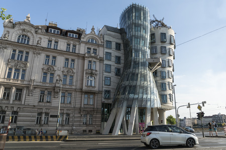 The dancing house building in Prague, Czech Republic