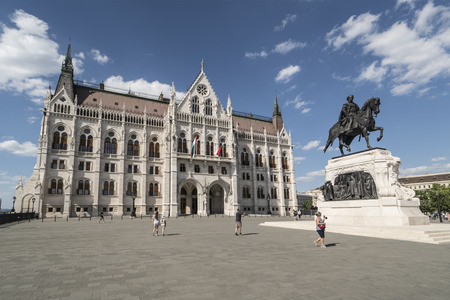 the Hungarian parliament building on Kossuth Square in Budapest, Hungary
