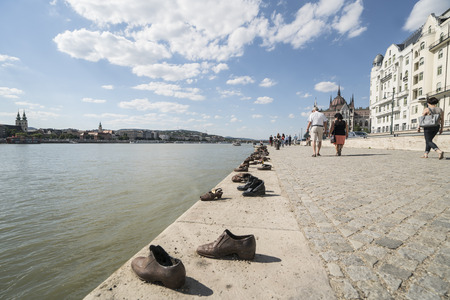 the shoes memorial on the danube of in Budapest, Hungary Editorial