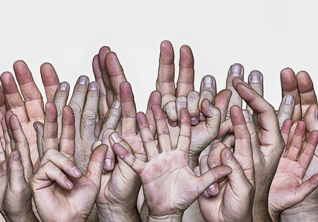 many hands lifted upwards on a white background