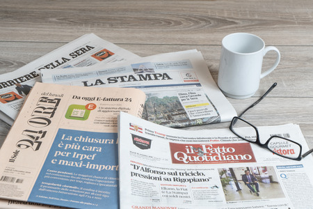 A view of some italian newspapers on the table Editorial