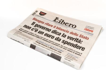 The Libero Italian newspaper on the table