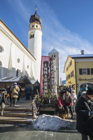 the traditional Christmas market in San Candido - Innichen, Trentino Alto Adige region, Italy