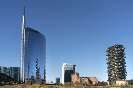 The Unicredit tower designed by architect Cesare Pelli in the Isola district in Milan, Italy