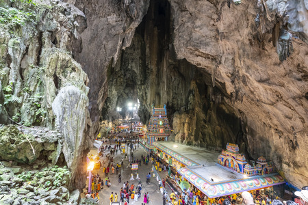 the crowd of worshipers in the temples at Batu Caves, Kuala Lumpur, Malaysia
