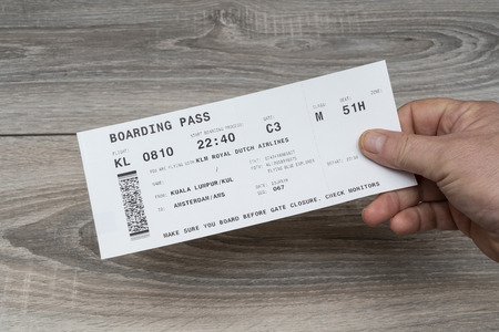 The KLM airlines boarding pass on the hand