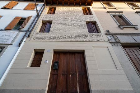 Udine, Friuli Venezia Giulia region, Italy. March 22 2019.   the birthplace house of photographer Tina Modotti Редакционное