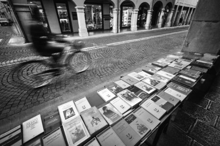 Udine, Friuli Venezia Giulia region, Italy. March 22 2019.   the sale of books on a sidewalk in the city Redactioneel