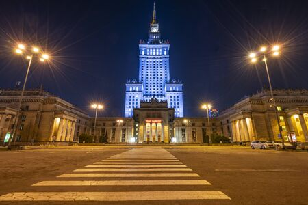Warsaw, Poland. April 6, 2019. A panoramic view of the Palace of Culture and Science at night Editorial