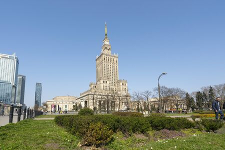 Warsaw, Poland. April 6, 2019. A panoramic view of Palace of Culture and Science daytime