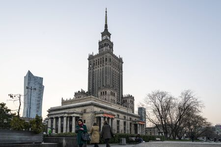Warsaw, Poland. April, 2019.  A view of the Palace of Culture and Science at sunset