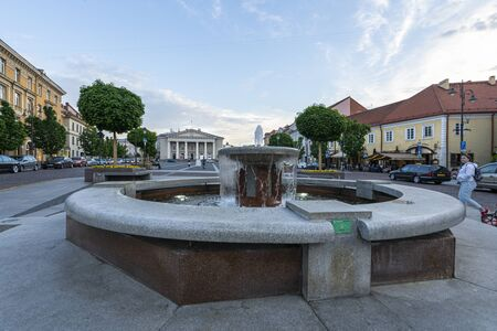 Vilnius, Lithuania. May 2019. The Town Hall Square Fountain in the center of the city Editorial
