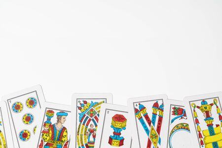some Cards for the briscola game on a white table Stok Fotoğraf