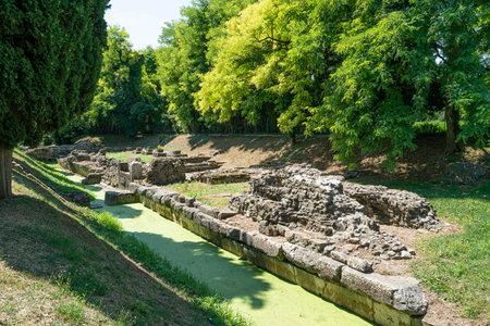 Aquileia, Friuli Venezia Giulia region, Italy. view of the archaeological area of the ancient Roman fluvial port 에디토리얼